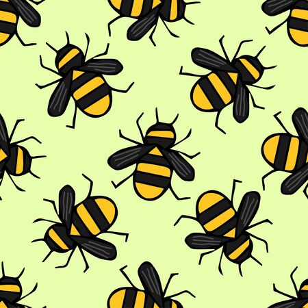 Cute seamless pattern with a bee on a beautiful background. Colored hand drawn. Vector illustration for badge, logo, sticker, print.