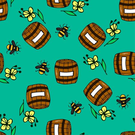 Cute and beautiful seamless pattern with a barrel of honey, a bee and flowers on a beautiful background. Vector hand-drawn illustration for badge, logo, sticker, print. Ilustrace