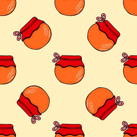 Cute honey seamless pattern in glass jar hand drawn outline doodle icon. Glass jar with honey line icon for infographic, website or app. Hand-drawn isolated vector illustration. Vector illustration for badge, logo, sticker, print.