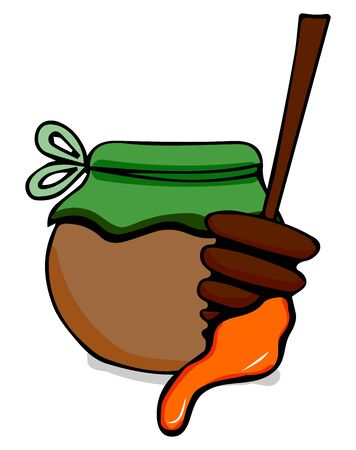 Honey in a glass jar and with a stick of honey hand drawn outline doodle icon. Glass jar with honey and stick line icon for infographic, website or app. Hand drawn isolated vector illustration. Vector illustration for badge, logo, sticker, print.