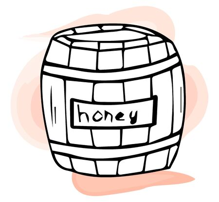 Barrel with honey icon logo. Hand-drawn vector illustration isolated on white background. Ilustrace