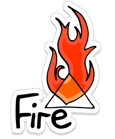 Hand-drawn illustration of alchemical element fire sticker. Tattoo design, print on textile, postcard. Drawing with symbols of the energy of nature.Conceptual design for tattoo, coloring or greeting card. EPS10.