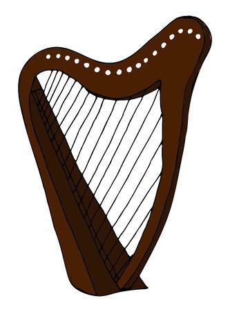 Hand Drawn harp doodle icon isolated on white background. vector illustration. Ilustrace