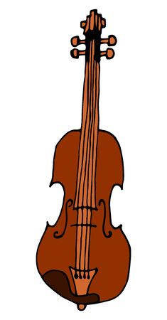 Hand Drawn Violin Sketch Symbol. Vector Fiddle Element In Trendy Style.