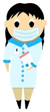 Nursing wears a protective mask, cartoon female doctor or nurse in uniform. Vector hand drawn illustration in flat style. Protection against viruses and diseases. Ability to edit.