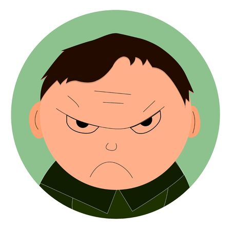 Illustration of an angry young boy on a white background. Cartoon character flat style. Vector hand-drawn illustration, icon for web design.