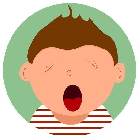 Illustration depicting a boy who is yawning. In a striped shirt. Vector illustration, icon for web design.