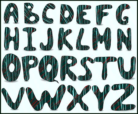 uppercase english bold letters. With a beautiful stroke design on a green background.