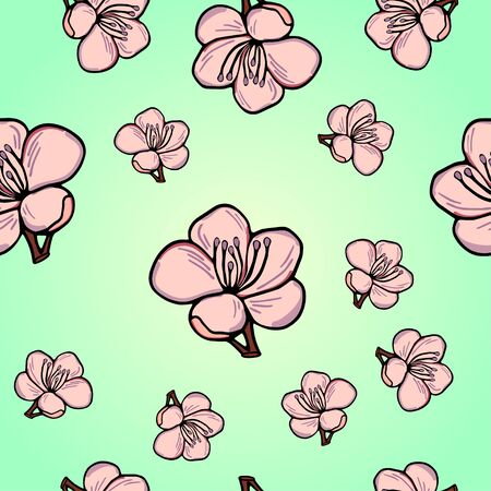 Cute pattern in a small flower. Pink sakura flowers, blooming Japanese cherry. The symbol of spring. Little colorful flowers. Beautiful background Floral seamless pattern.
