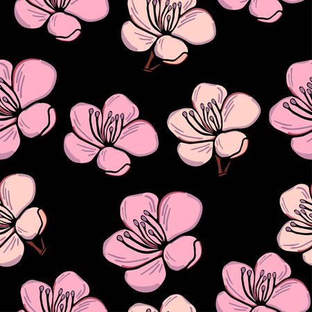 Cute pattern in a small flower. Pink sakura flowers, blooming Japanese cherry. The symbol of spring. Small colorful flowers on a black background. Floral seamless hand-drawn pattern.