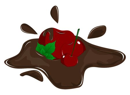 Chocolate coated cherry with shadow and spray on a white background. Chocolate mint leaves with cherry. Detailed vector icons. A series of food and drink and culinary ingredients. Illustration