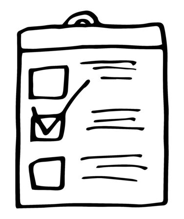Paper checklist hand drawn outline doodle icon. Store shopping, retail purchase, shopping list concept. Vector sketch illustration for print, web, mobile and infographics on white background.