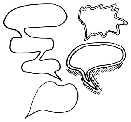 Collection of hand drawn thinking and talking speech bubbles messages, greetings and sale announcements. Doodle style comic balloon, cloud, design elements. Isolated vector