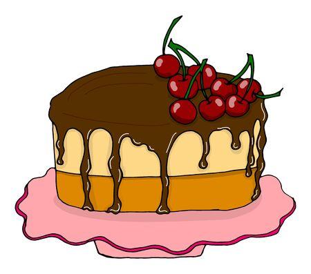 Cherry chocolate cake icon. Isometric of cherry chocolate cake vector icon for web design isolated on white background.