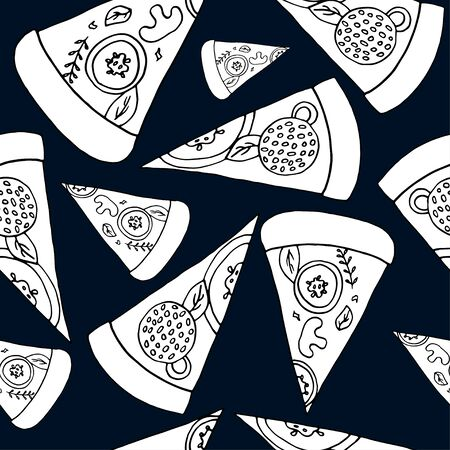 Seamless pattern of sliced pizza on a beautiful background. Vector hand-drawn illustration. Pizza label for menu or packaging.