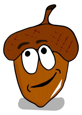 Colorful acorns cartoon character with a pensive look on a white background doodle style.