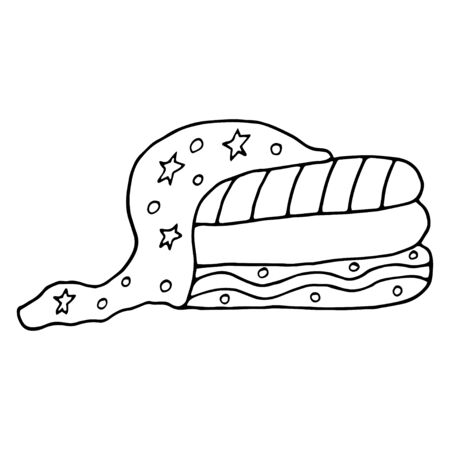 Towel illustration, drawing, engraving, ink, line art.