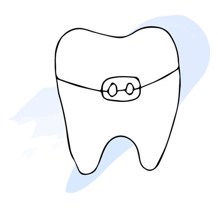 Tooth and braces doodle icon. Vector hand-drawn illustration isolated on a beautiful background.
