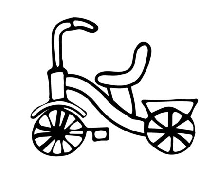 cartoon kids bike, vector doodle isolated on white background Ilustração