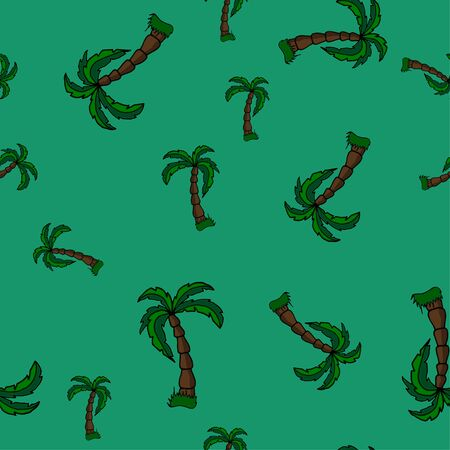 vector hand draw palm trees on a beautiful background seamless pattern. Ideal for summer backgrounds, beachwear, gift wrapping, scrapbooking, fabric.