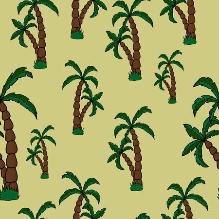 vector hand draw palm trees on a beautiful background seamless pattern. Ideal for summer backgrounds, beachwear, gift wrapping, scrapbooking, fabric. 向量圖像