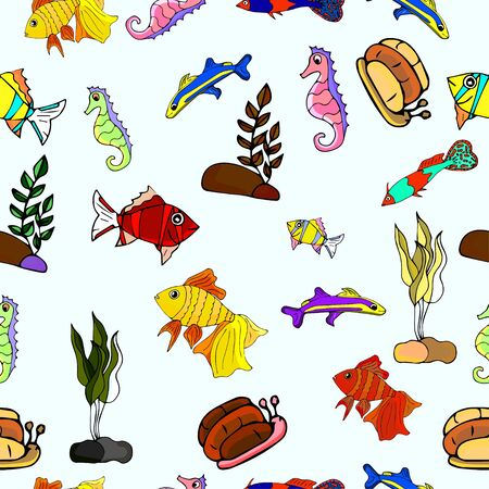 Seamless pattern with aquarium colorful fish, snails and seahorses with seaweed. Hand-drawn vector illustration.