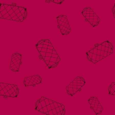 Clutch line icon black isolated seamless pattern on red background. Female clutch wallet. Hand drawn doodle style vector illustration. Background for shop, beauty blog, post on social networks, packaging, textiles, paper. 矢量图像