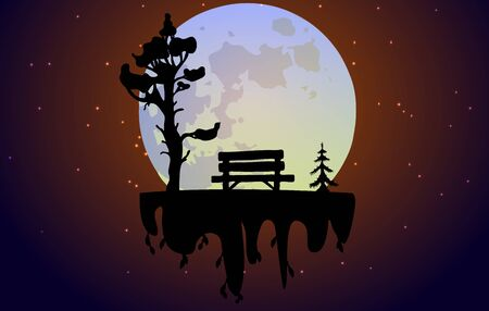 Bench under a tree against the backdrop of a huge moon. Landscape with a soaring island. Can be used for travel or banner, poster design, desktop. Çizim