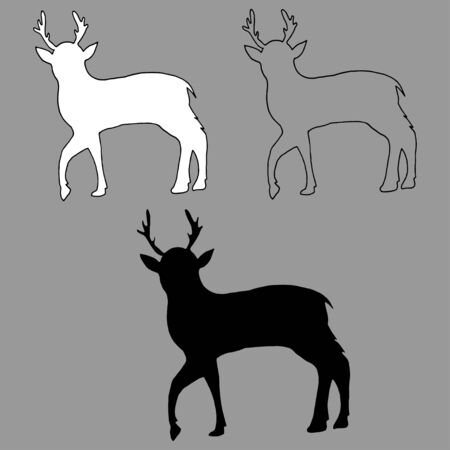 Graphic vector outline, white and black silhouette of a young deer isolated on gray background, freehand drawn illustration. Perfect for invitations, cards, prints, flyers, posters.
