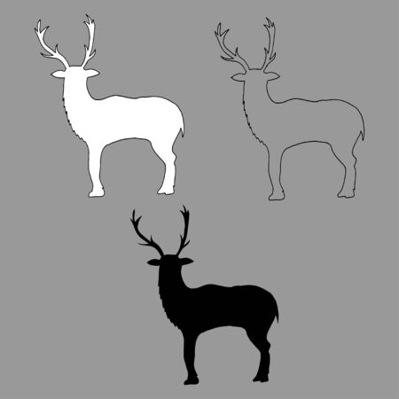 Graphic vector outline, white and black silhouette of a deer isolated on gray background, hand drawn illustration. Perfect for invitations, cards, prints, flyers, posters.