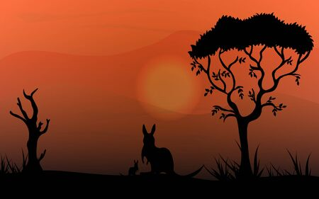 Kangaroos and cubs on the Australian plains. Acacia trees and dry tree. Wildlife Australia. Realistic vector landscape. Silhouettes of animals and plants. Wanderings