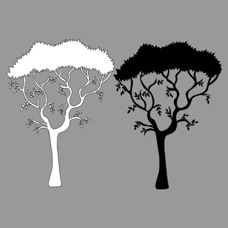 Vector silhouette tree view. Vector hand drawn illustration on a white background. Perfect for invitations, cards, prints, flyers, posters.