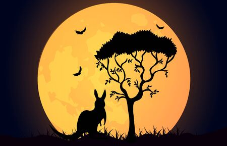Kangaroo silhouette on the Australian plains. Acacia tree and kangaroo with birds on the background of the moon. Wildlife Australia. Realistic vector landscape. Silhouettes of animals and plants.