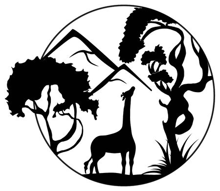 A silhouette of a giraffe reaching for foliage on a tree on a mountainside. Black and white landscape. Vector illustration perfect for invitations, cards, posters, logo design.
