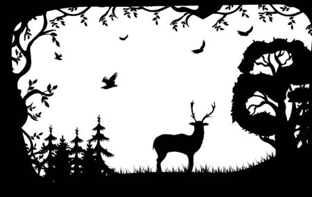 Silhouette of a deer and birds on the background of the forest. Black and white landscape of forest and wild animals in a frame of foliage. Vector illustration perfect for poster, logo design.