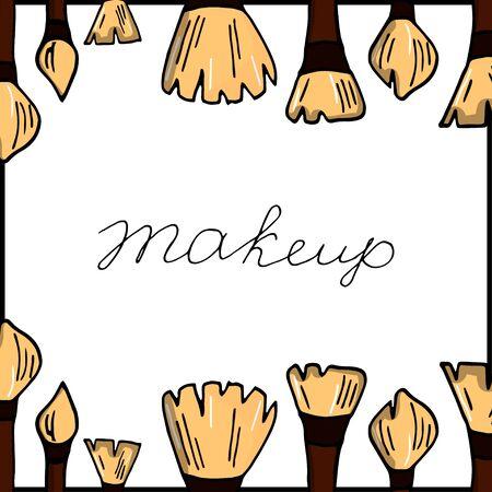 Make up set. Makeup brushes set. EPS10 vector illustration. Doodle make up set. Brushes kit. Makeup tools. Design for print, poster, decoration.