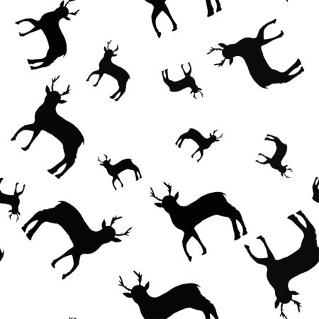 Seamless pattern with black silhouettes of deer on a white background. Design for print, poster, design.