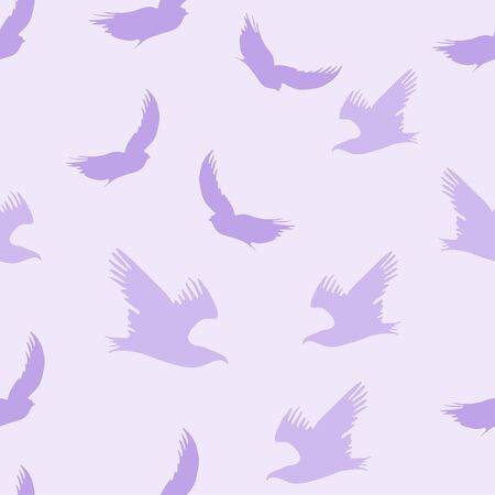 Vector seamless flying birds conversation pattern, spring summer, tender romantic violet background. Design for print, poster, design.