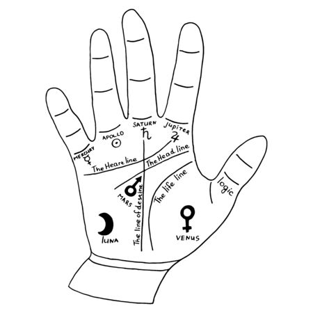 Hand for palmist, palm reading card. Vector illustration isolated on white background.