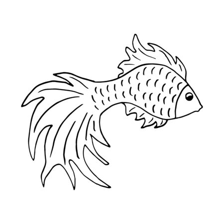 Symbol editable template fish symbol. Hand-drawn goldfish, vector doodle. Suitable for tattoo, design, brand  , badge, t-shirts, printed cups, cards. Illustration