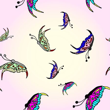 Seamless pattern with flying and beautiful butterflies on a pink background. Hand-drawn vector illustration.Perfect for invitations, cards, prints, flyers, posters. 矢量图像