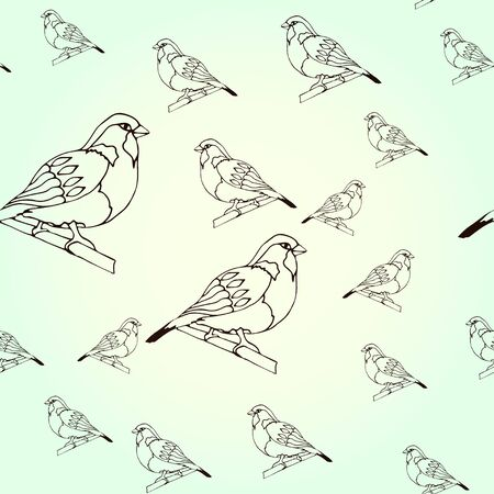 Seamless pattern Sparrow, bird in winter on a light background. Drawn outline. Vector illustration for badge, logo, sticker, print. Stock Illustratie