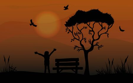 Silhouette of a happy child in the park with a bench. Trees and birds.Can be used for travel or safari banner, poster design, desktop.