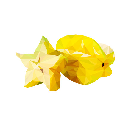 Carambola, tropical fruit, triangulation, vector realistic illustration Low poly isolated on white background Illustration