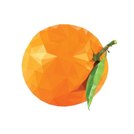 Oranje? Bereik rijp, sappig, heerlijk, tropisch fruit, triangulatie, vector realistische illustratie Laag poly geïsoleerd op een witte achtergrond Stock Illustratie