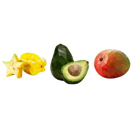 Set of fruits, ripe carom, tasty avocado and juicy mango on white background. Illustration
