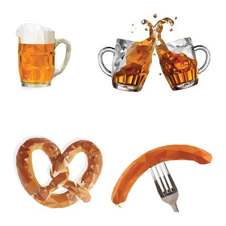オクトーバーフェスト、ビール付きグラス、ソーセージ、プレッツェル、セット、白の背景にベクトルイラスト