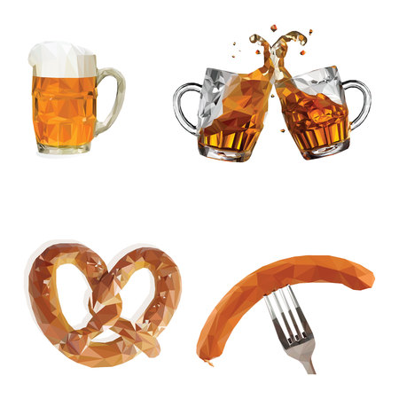 Oktoberfest, glasses with beer, sausages, pretzels, set, vector illustration on white background