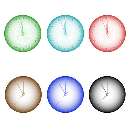 A set of multi-colored wall clock with tsiferrbetom, arrows and timestamps. Vector illustration of high quality
