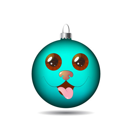 New Years, Christmas azure ball, toy with a dogs face on a white background. Vector illustration